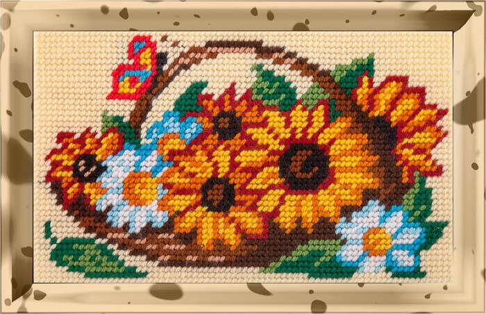Соняшники і ромашки в кошику
